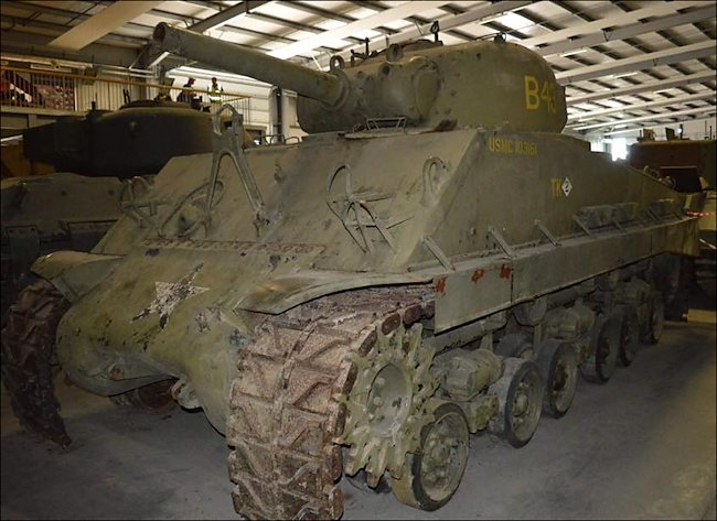 Surviving USMC M4 105mm Sherman awaiting restoration at The Tank Museum, Bovington, England
