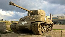 Surviving Battle of the D-Day 1944 M4A1E8(76) HVSS Sherman tank in  Utah Beach France