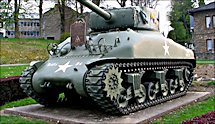 Surviving Battle of the Bulge 1944 M4A1(76) Sherman Tank in the village of Vielsalm in Belgium