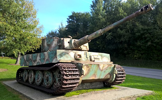 The Vimoutiers Tiger Tank is missing its track guards