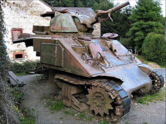 Surviving Belgium 1944 Battle of the Bulge M4A3 Sherman Tank in the small village of Wilbrin