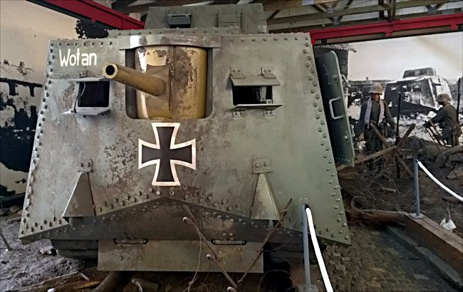 Surviving WW1 German Sturmpanzerwagen A7V tank replica